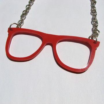 Nerd Specs Necklace Red, 60% off