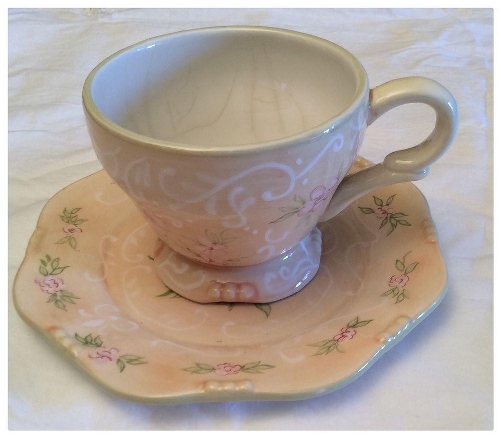 Vintage Tracy Porter hand painted Blush Design dessert plate & mug ...