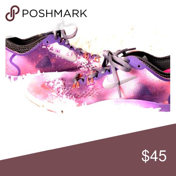 prezzo competitivo selezione più recente pregevole fattura Women's Nike 5.0 Pink and purple galaxy Nike shoes with gray laces ...