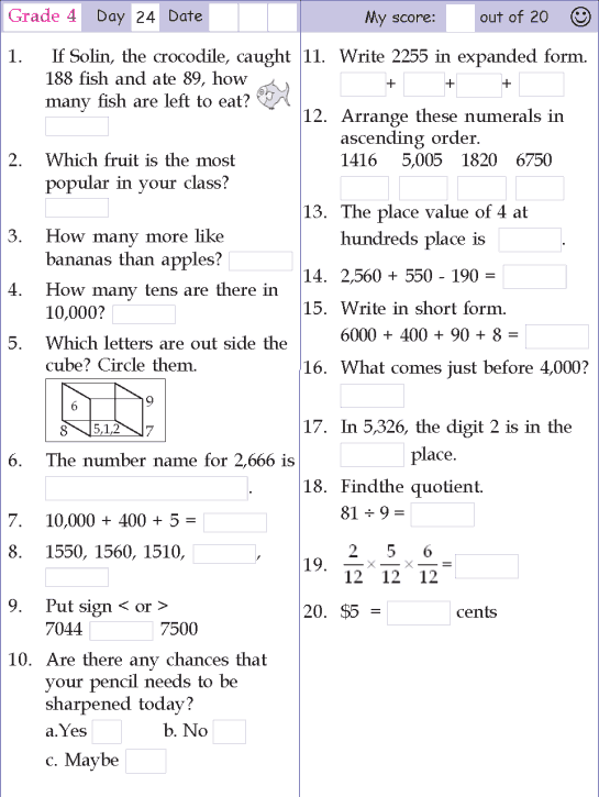 Mental Math Grade 4 Day 24 Mental Math 4th Grade Math