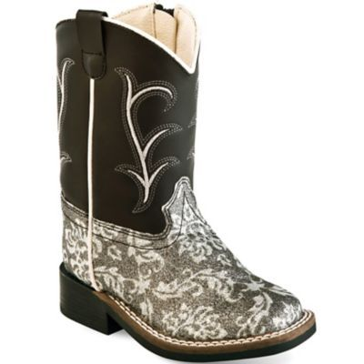 Old West VB1010 Kid's 6.5 in. Western Boot, Leatherette Charcoal