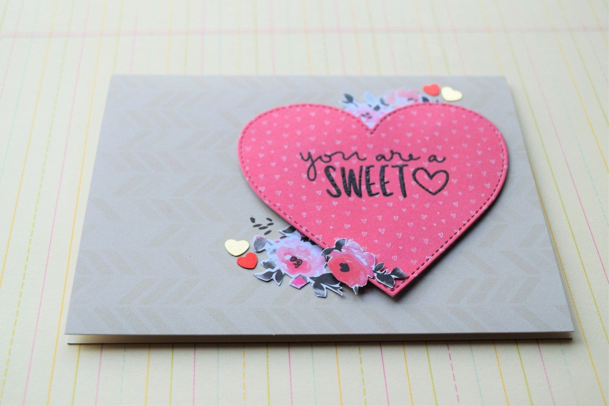 Hi friends, today I have my second card using this month's card kit by SSS. In my last card with this kit, I used the negative space of my heart die cut for the window shaker. I used the hear…