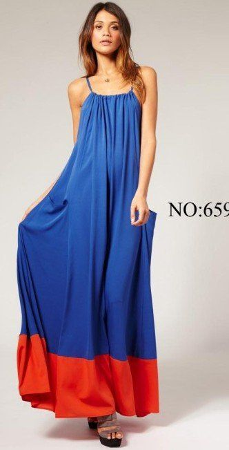 US Fashion Women Spaghetti Strap Color Patchwork Pockets Loose Long Dress Casual