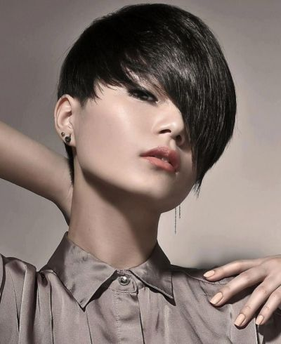 Short Side Swept Bob Cut