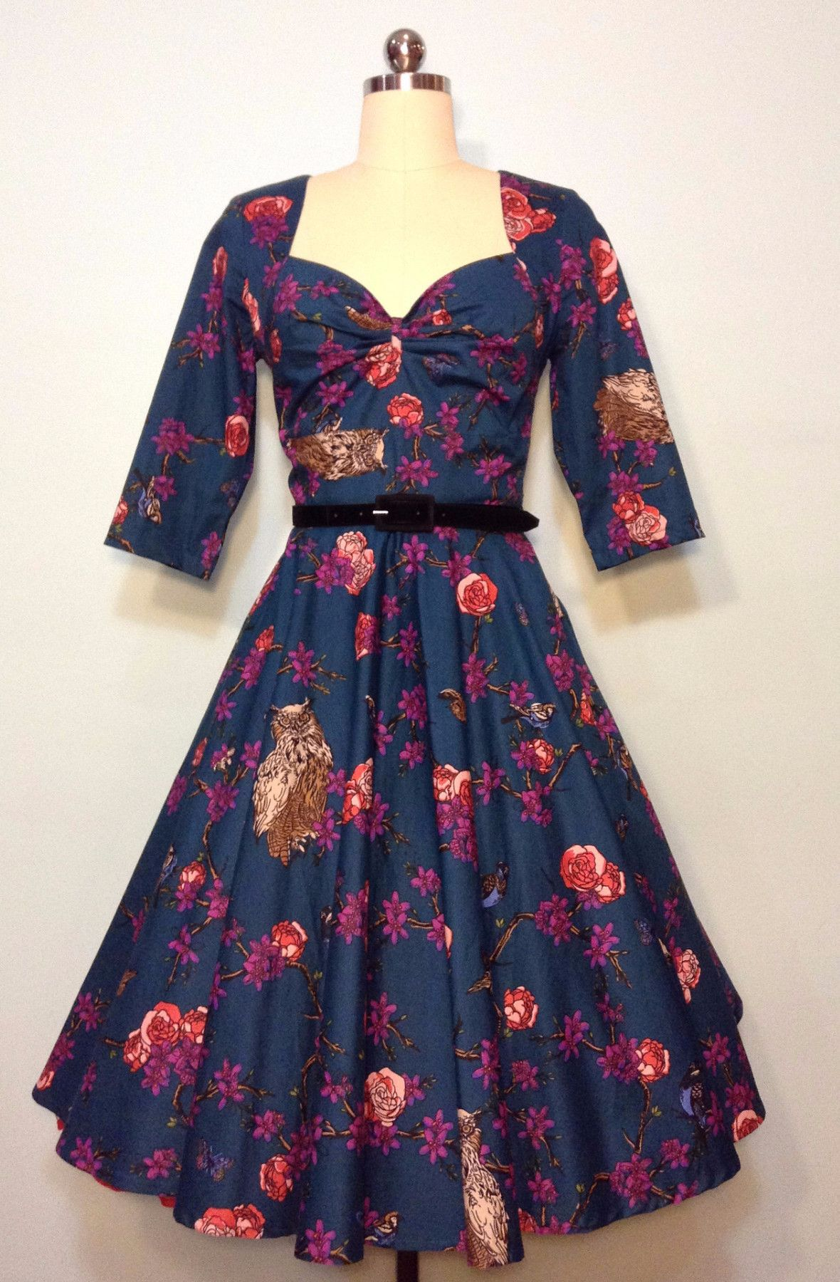 Hell Bunny Woodland Teal and Owl Print Dress | Products | Pinterest