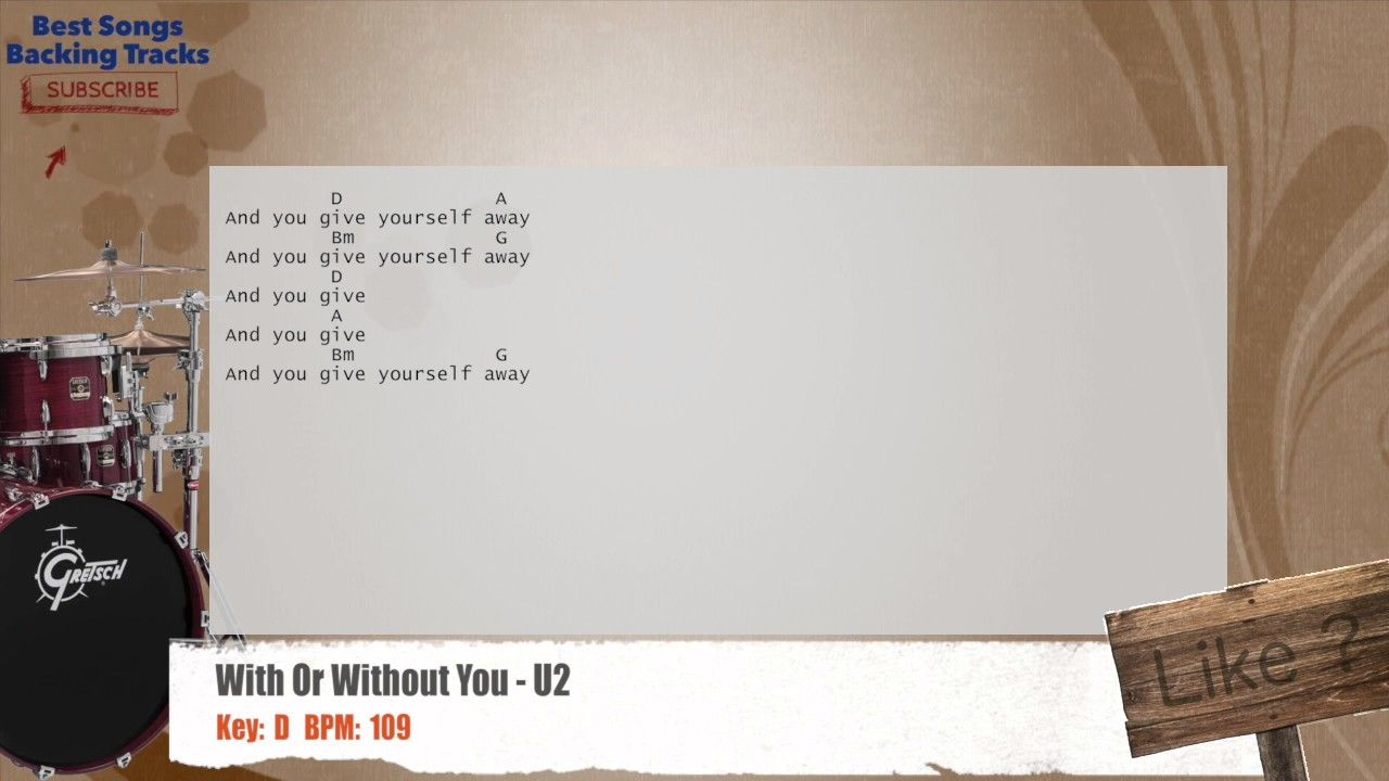 With Or Without You U2 Drums Backing Track With Chords And Lyrics