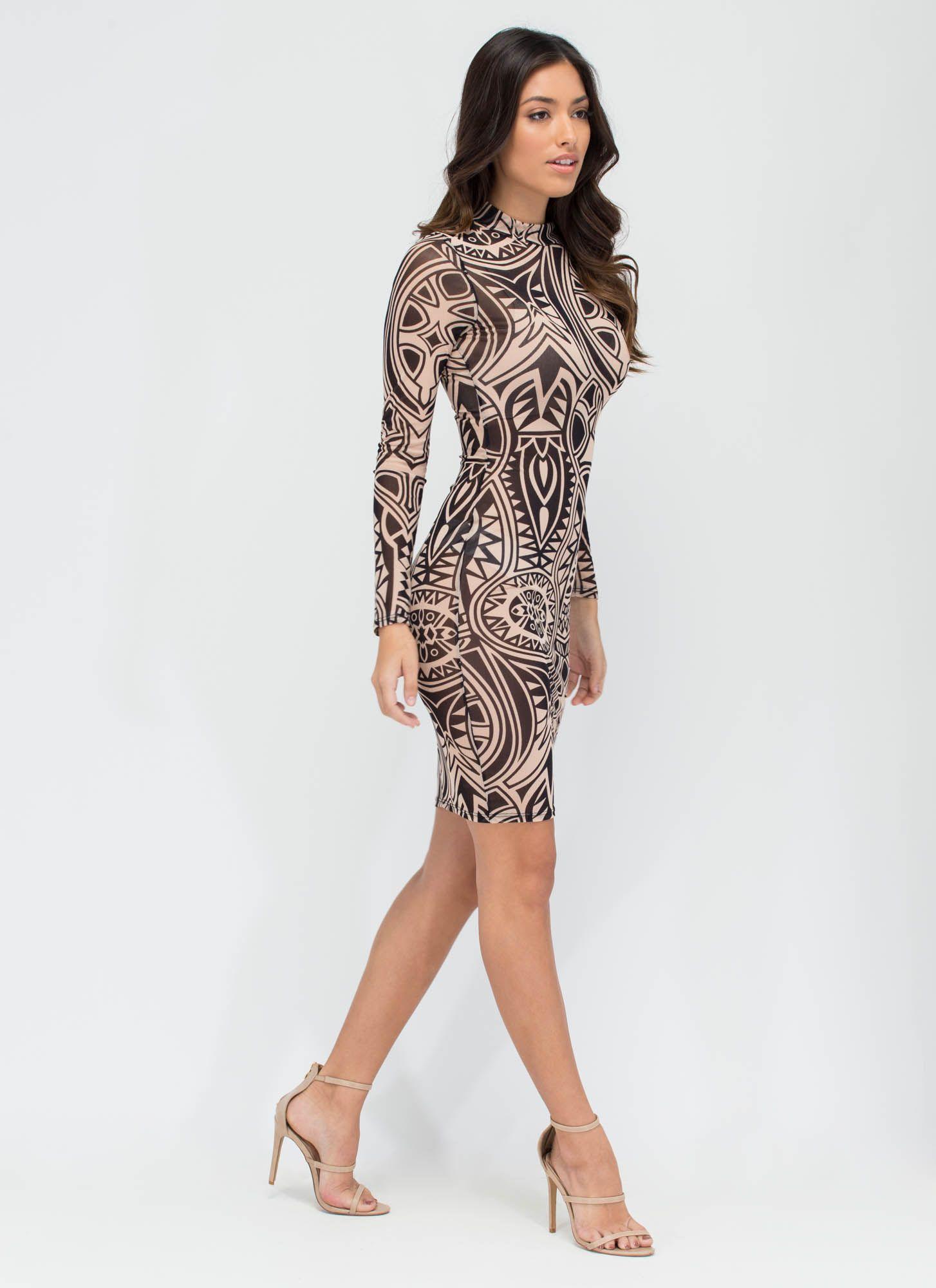 Tattoo Parlor Sheer Patterned Midi Dress Blacktaupe Gojane