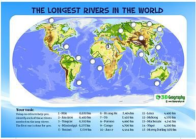 3D Geography locating the worlds major rivers river