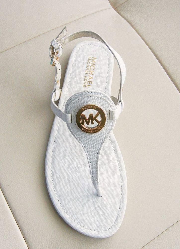 7fc06a41d2001b New Michael Kors Capri Logo Charm Thong Sandals Optic White Size 7.5M   MichaelKors  TStrap