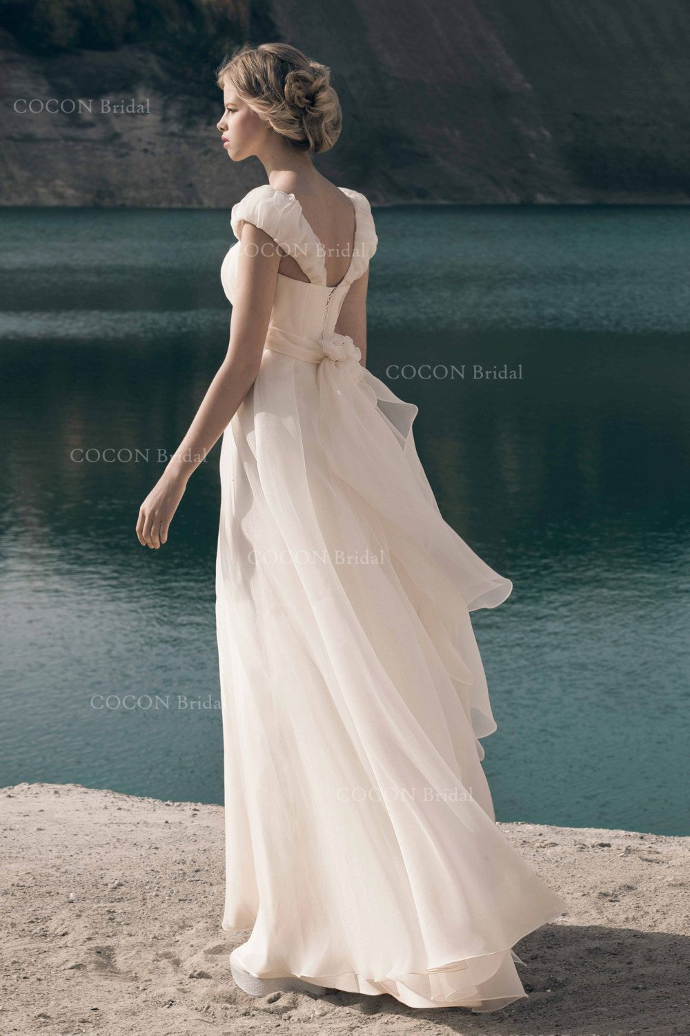 Bohemian wedding dress from highest quality silk organza and