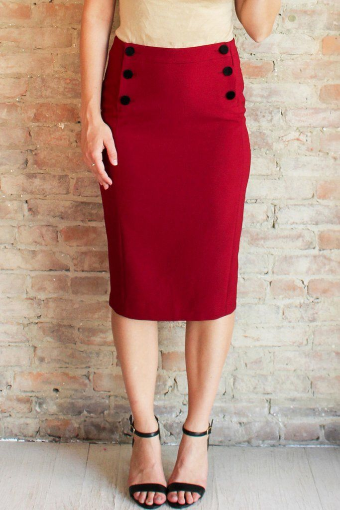 Charlotte Pencil Skirt #affordable #buttons #fall