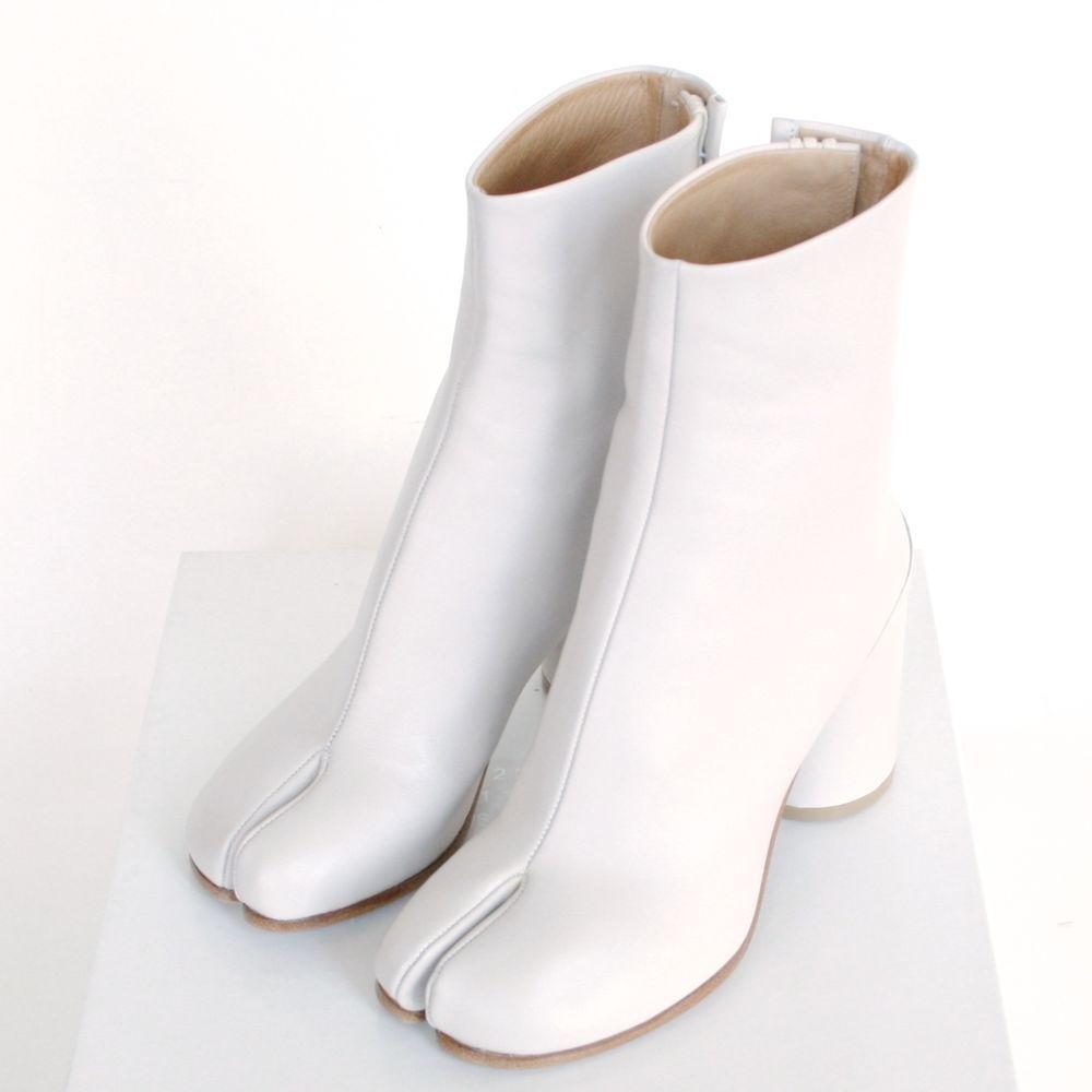 beige leather high heel tabi boots