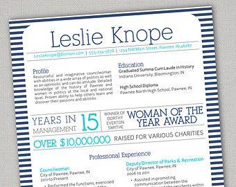 Creative Resume Matching Letterhead Leslie Knope