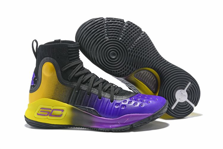 8272a8ca5750 2018 Cheap Under Armour Curry 4 Black Purple Yellow For Sale
