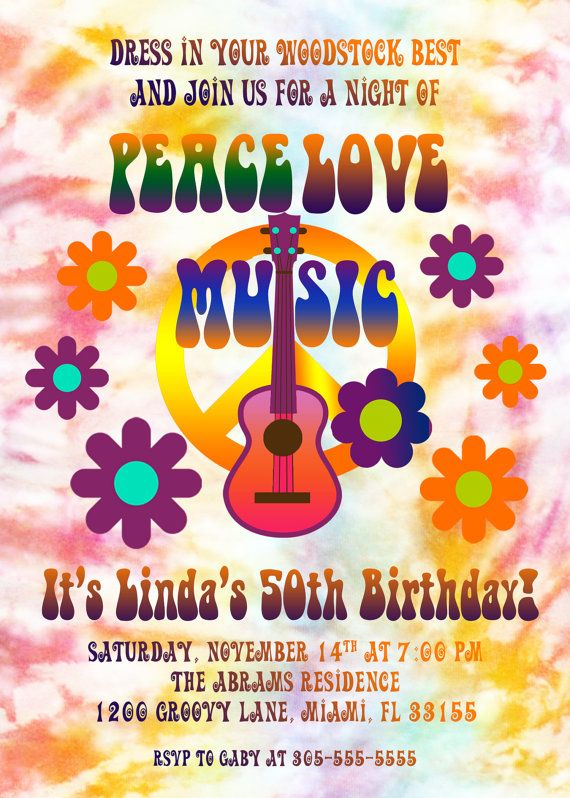 Hippie TieDye 40th 50th Birthday Party Invitation by CasaConfetti – Beatles Party Invitations