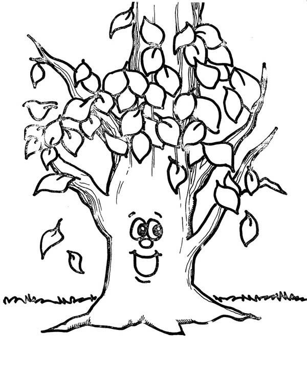 Fall Leaf  Happy Tree Fall Leaf Coloring Page  HalloweenFall