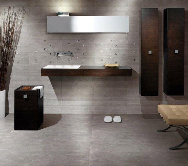 Flooring Terrific Cool Master Bathroom Floor Plans Using Grey Ceramic Tile Under Floating Vanity