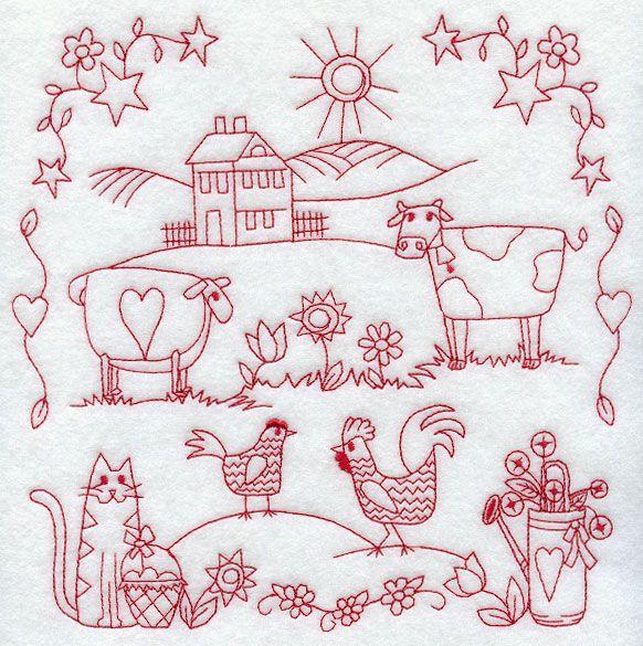 Country Sampler (Redwork)   embroidery   Pinterest   Bordado, Dibujo ...