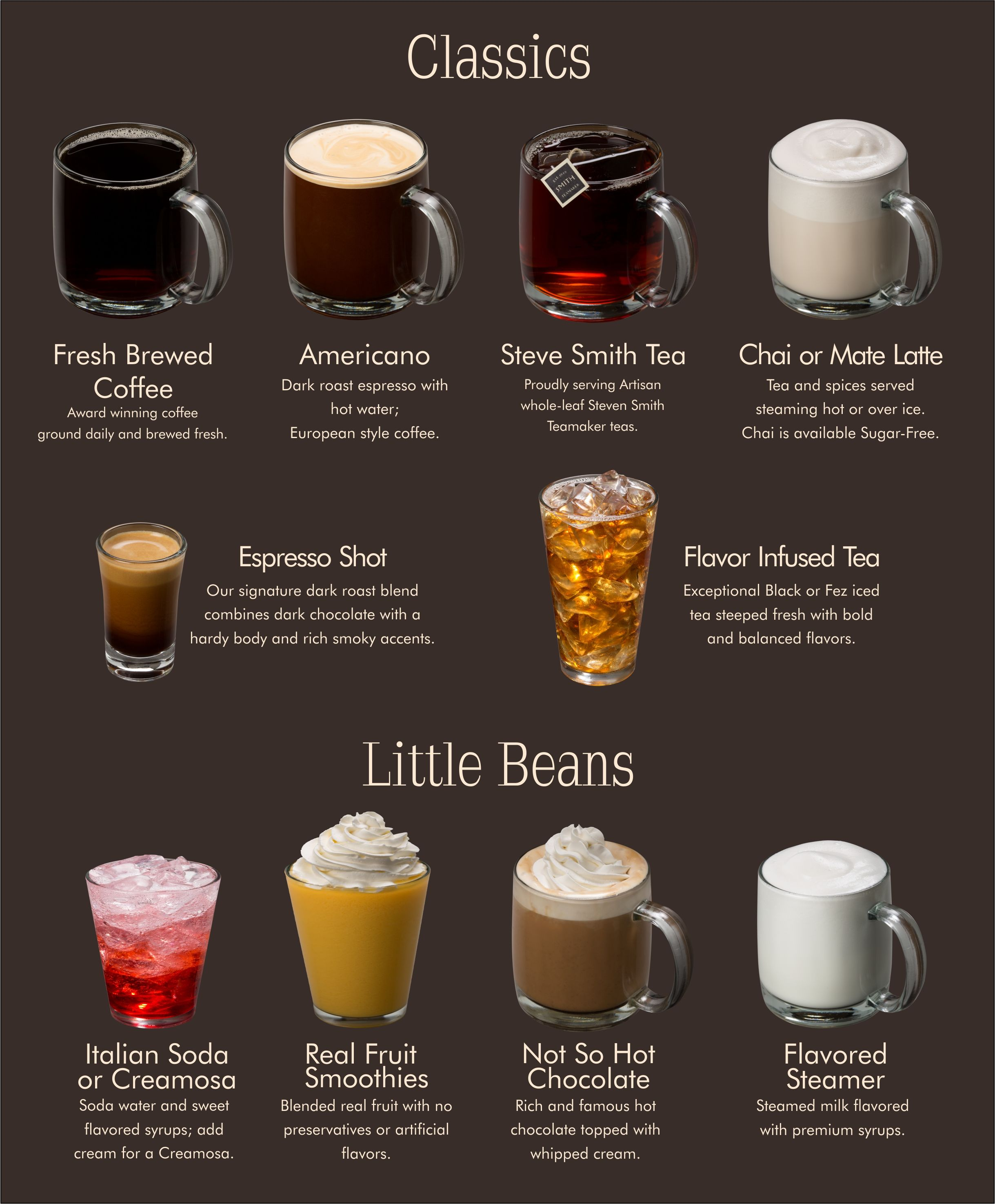 Menu Espresso Specialties Frozen Favorites Classic Drinks Yum Coffee Recipes Espresso Machine Recipes Espresso Recipes