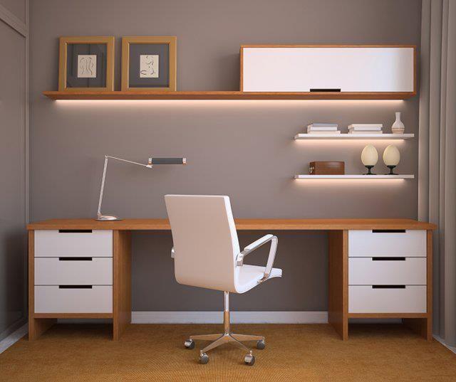 Escritorio Oficina Madera.Escritorio Madera Y Blanco Espacios Oficina En El Hogar