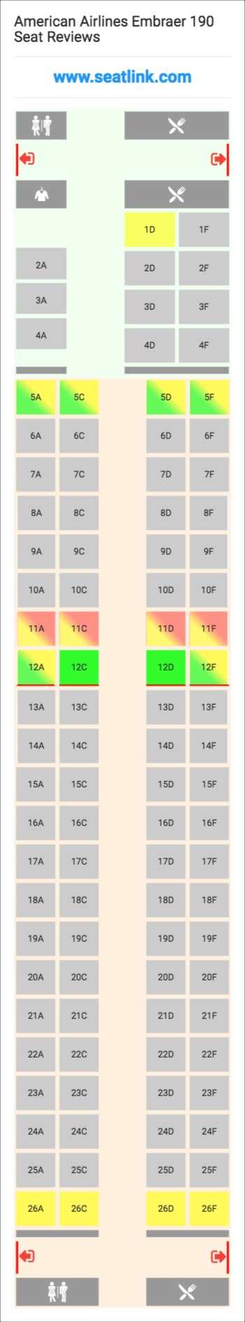 American Airlines Embraer 190 E90 Seat Map Airline Seating