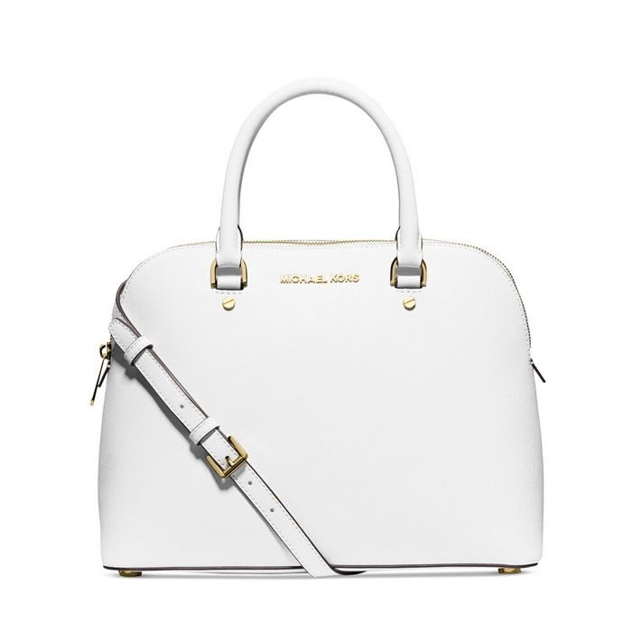 c96d7bdf3bd7 MICHAEL Michael Kors Cindy Saffiano Leather Satchel White | MICHAEL ...