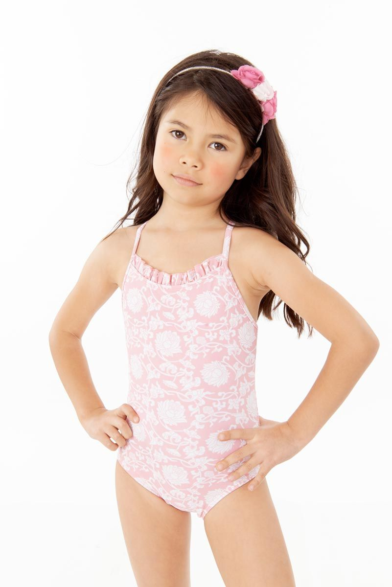 552b925829 Chinese Flower in Hush Pink printed One piece Ruffle Neck one piece girls  swimwear for little girls 4-10yrs. Shop online at www.sabinaswims.com free  ...
