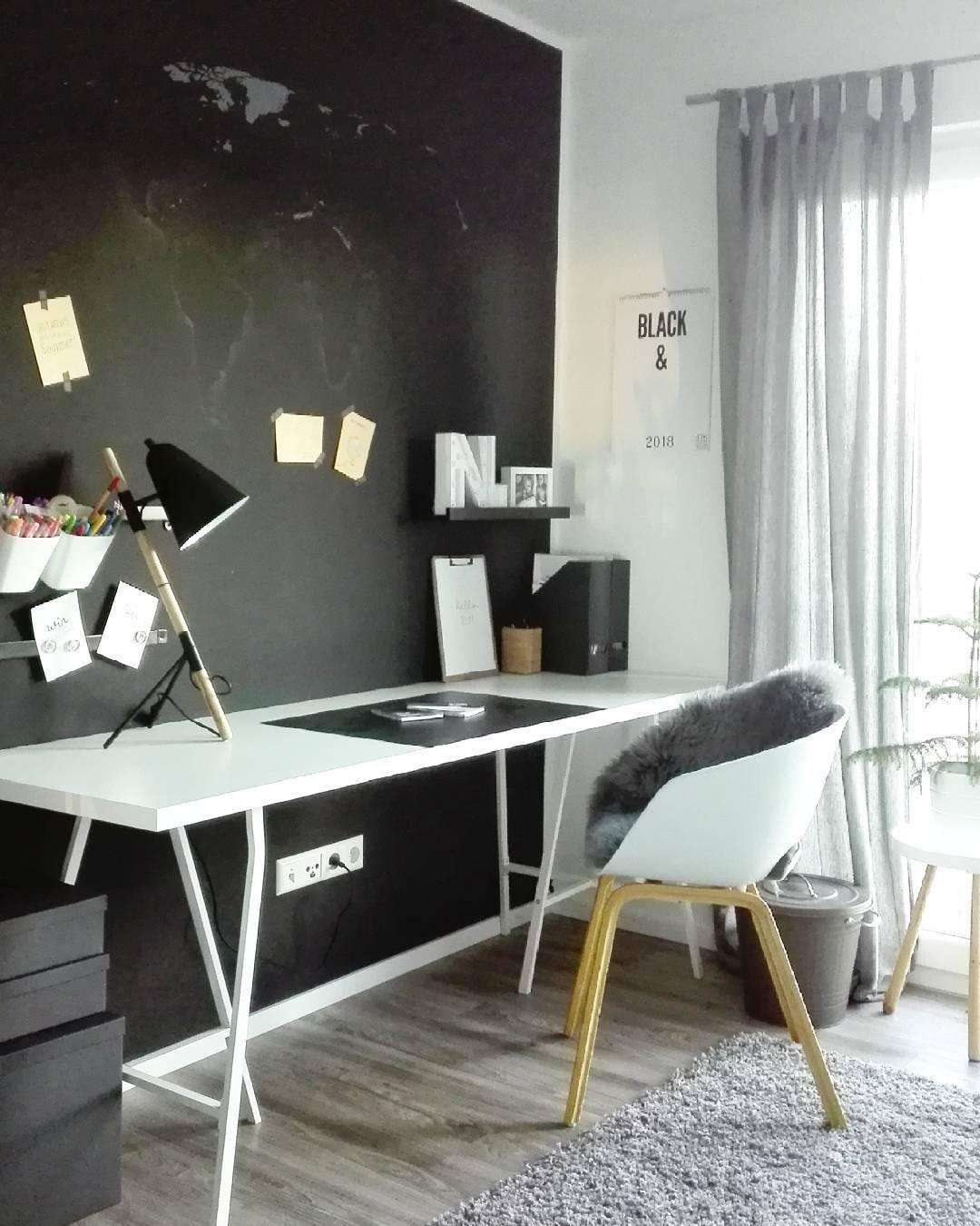 Black wall ein trend f r mutige auch im arbeitszimmer - Wandfarbe schwarz ...