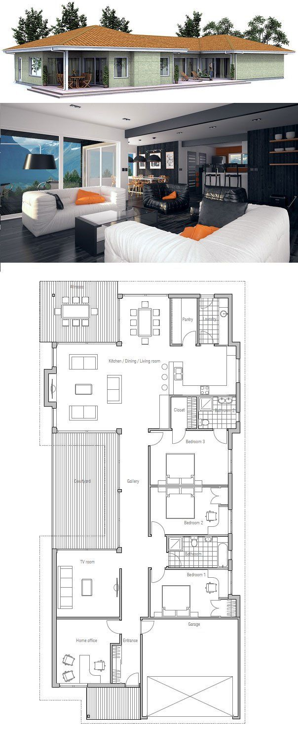 Narrow House In Modern Architecture 5 Bedrooms Floor Plan From