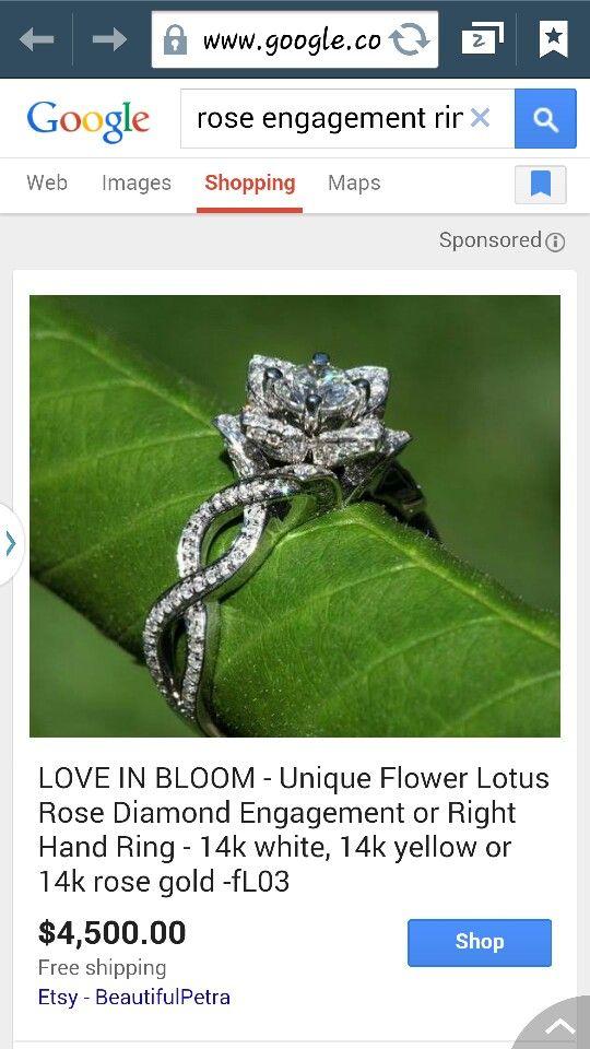 Rose lotus engagement ring