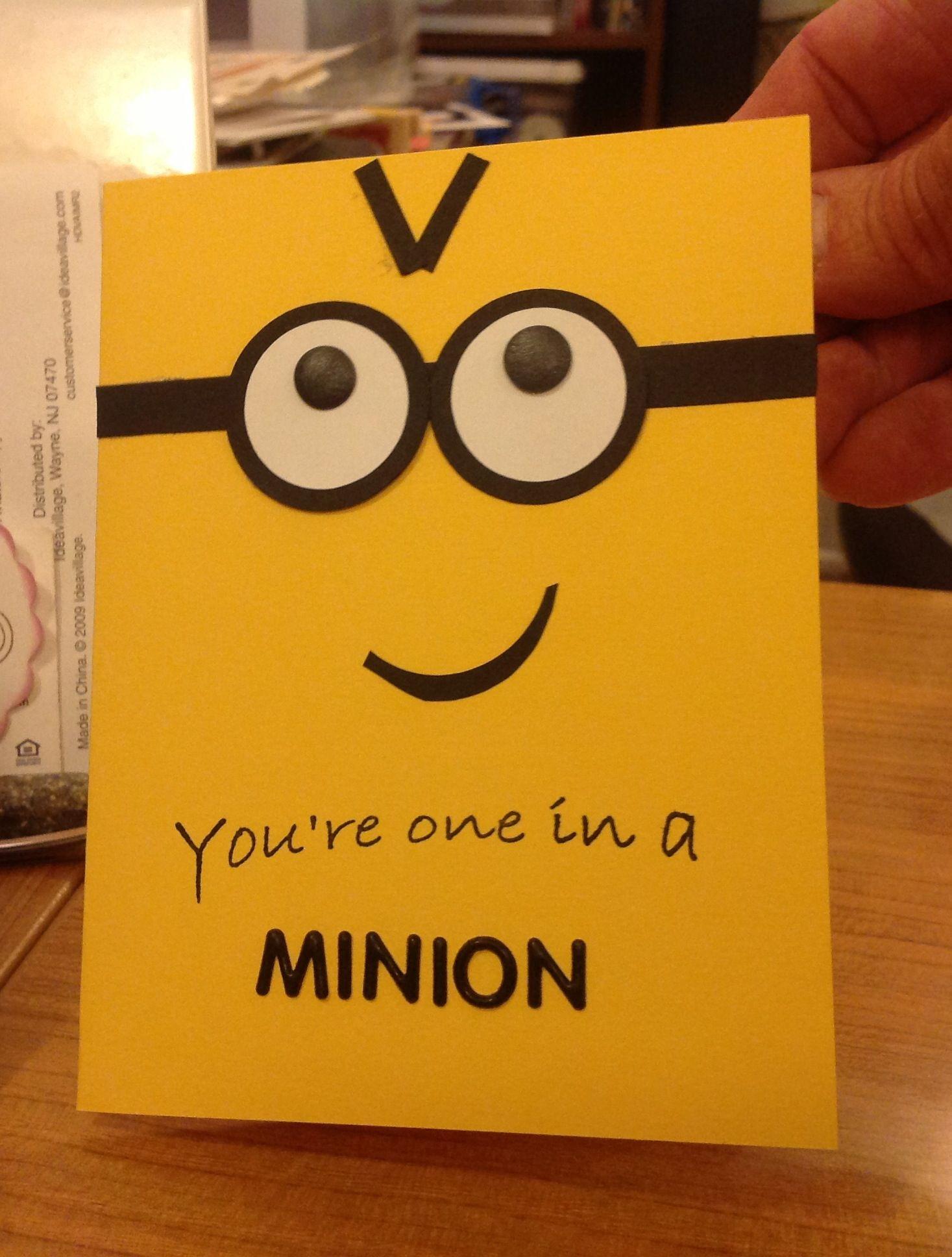 Minion birthday card LOVE the minions even purple ones