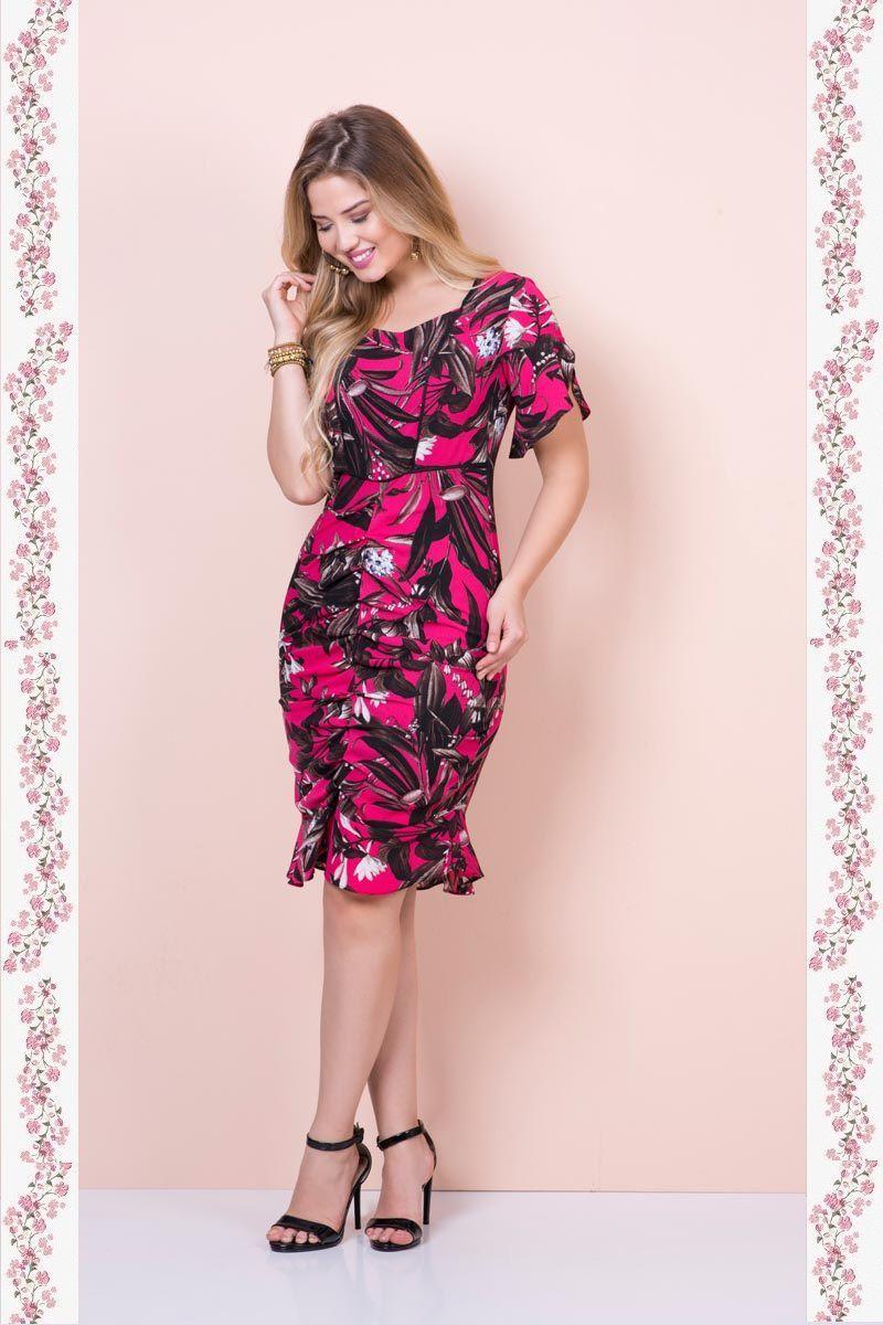 6da8e5b10 2383- Vestido em crepe floral forrado com drapiado frontal ( PRODUTO NA PROMOÇÃO  NÃO TEM