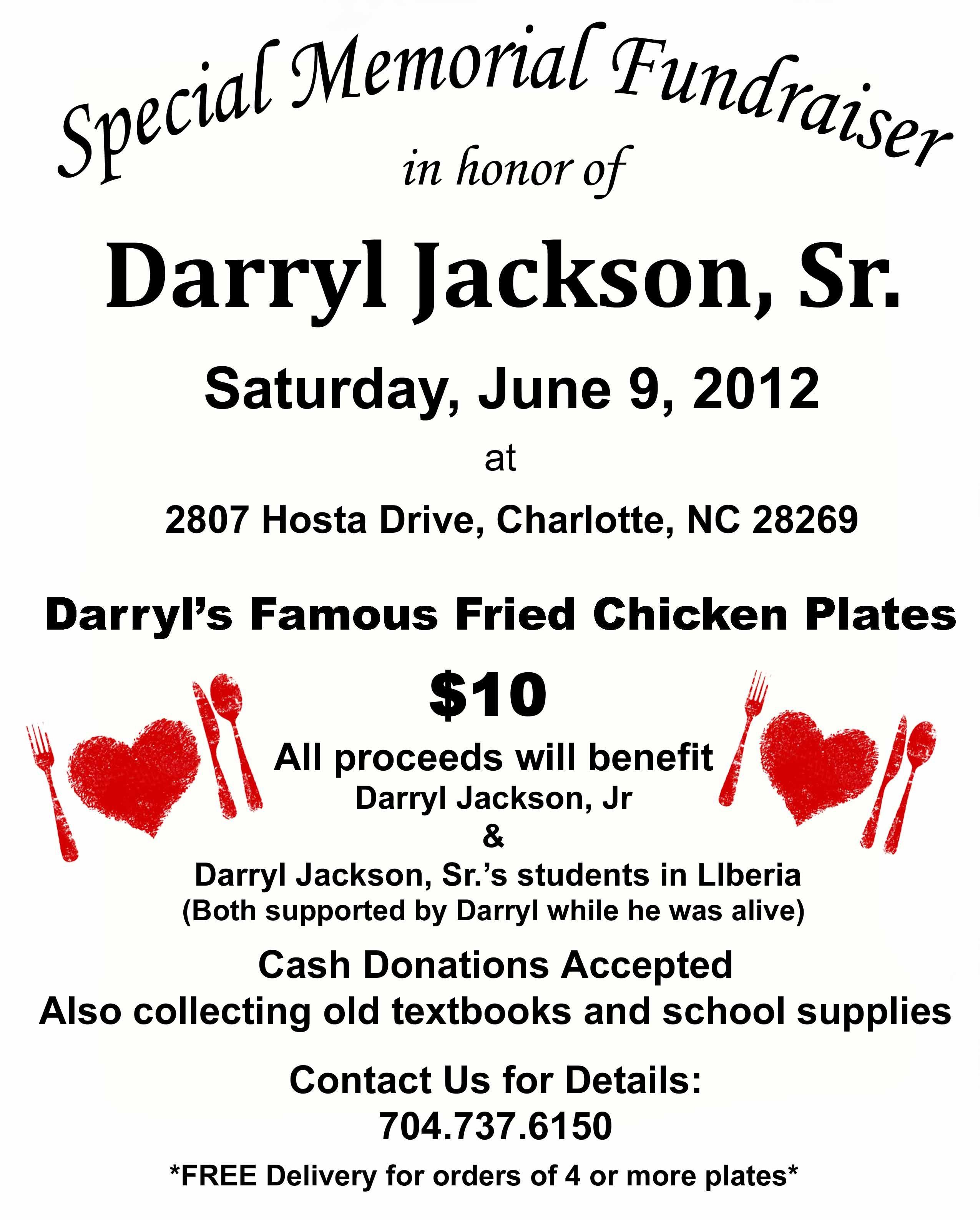 Special Memorial Fundraiser In Honor Of Darryl Jackson Sr For More