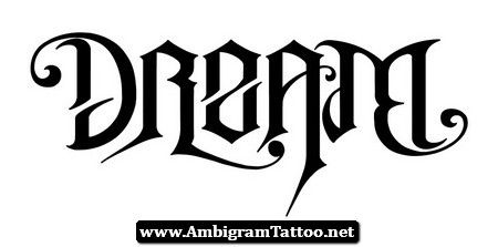 dream believe ambigram tattoo design 07. Black Bedroom Furniture Sets. Home Design Ideas