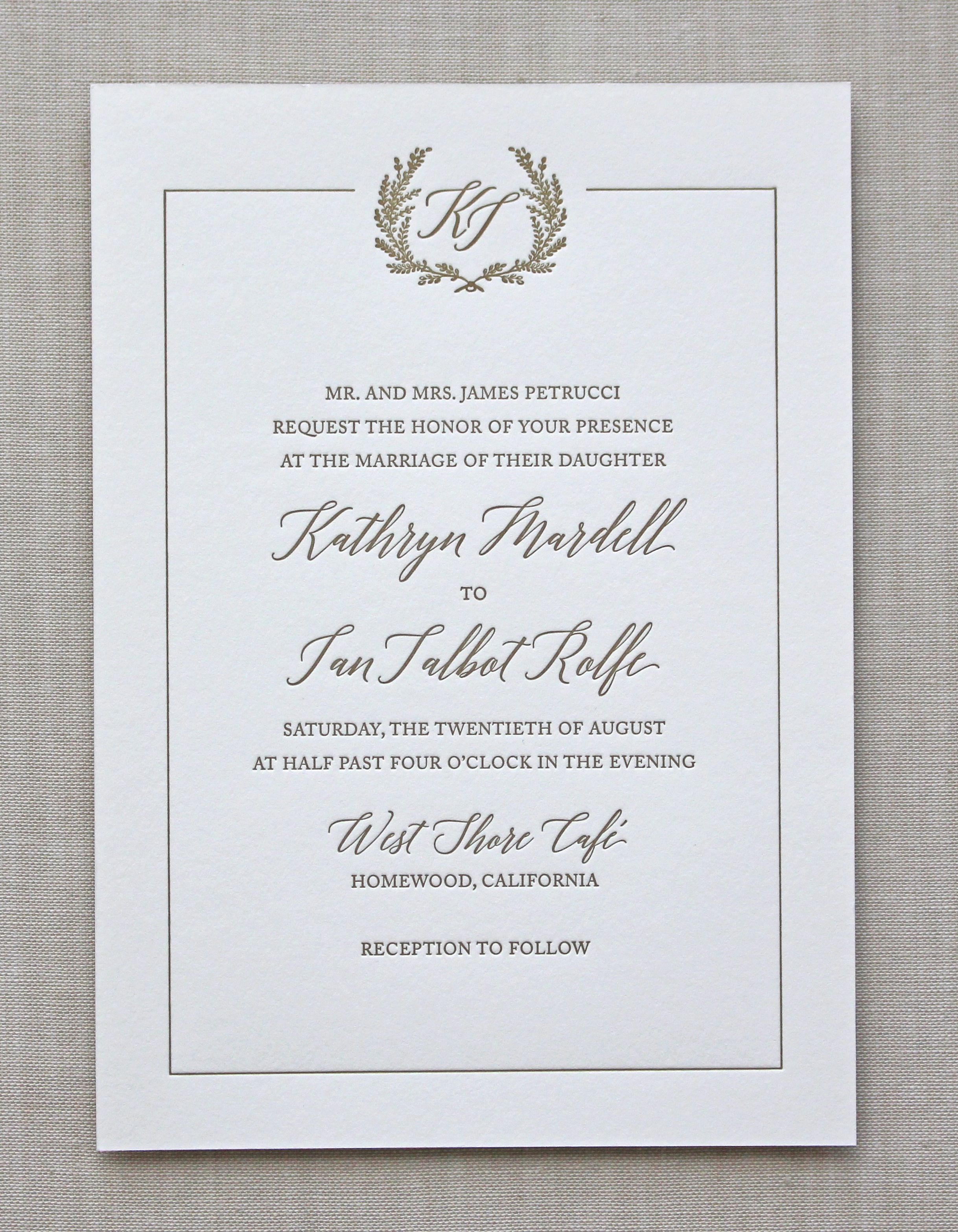 Letterpress Wedding Invitation Jardin Design Chatham Caron