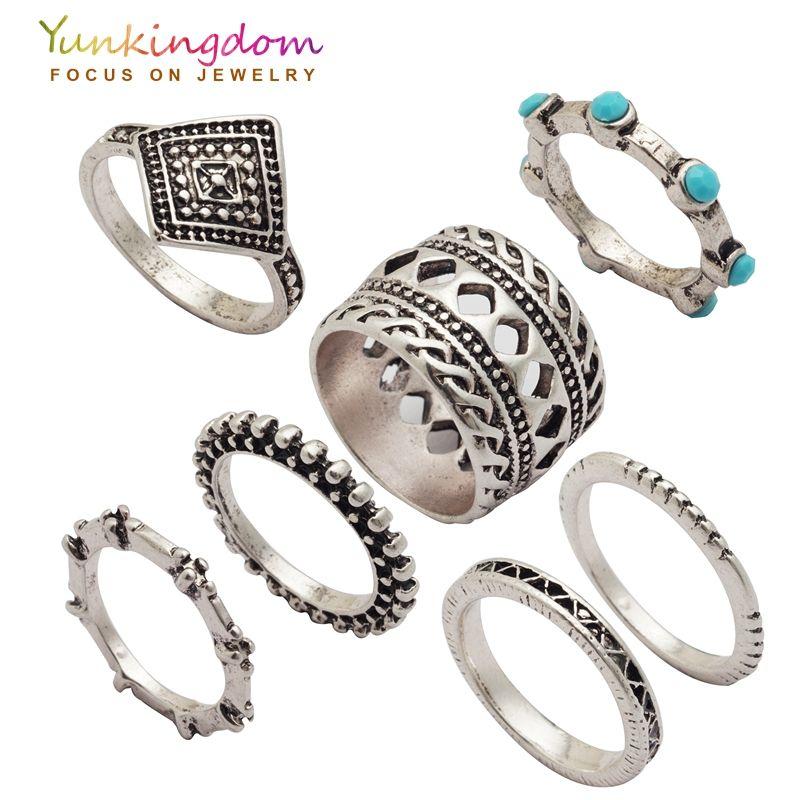 Yunkingdom punk vintage ring set harz alte silberne farbe ringe ...