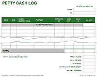 Petty Cash Log Template  Office Stuff    Calendar