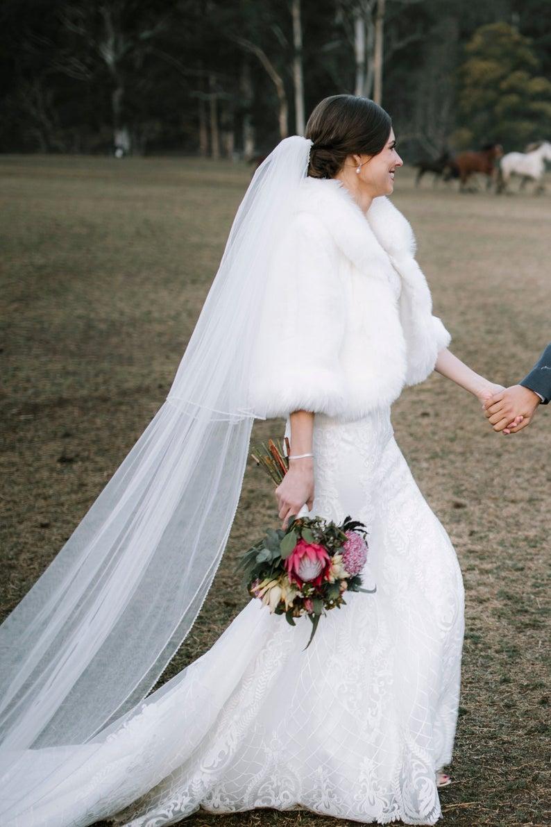 White Fur Wedding Dresses