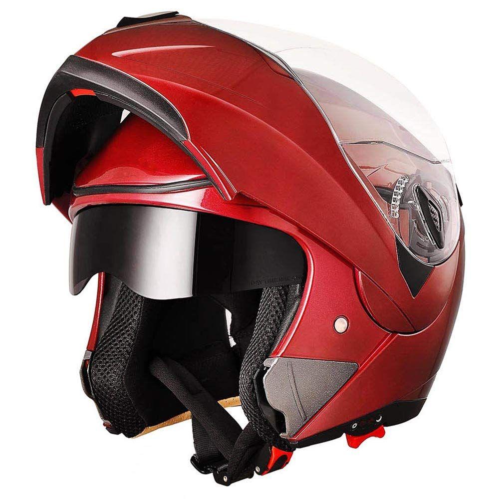 e466ed96 AHR Full Face Flip up Modular Motorcycle Helmet DOT Approved Dual Visor  Motocross Red XL