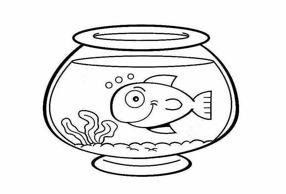 Fish Bowl Coloring Page Printable Coloring Sheet Anbu Coloring