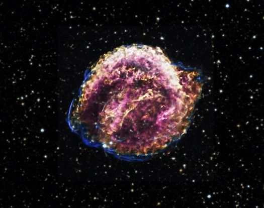 Kepler's Supernova Remnant :: September 11, 2012: In 1604, a new star appeared in the night sky that was much brighter than Jupiter and dimmed over several weeks. This event was witnessed by sky watchers including the famous astronomer Johannes Kepler. Centuries later, the debris from this exploded star is known as the Kepler supernova remnant.
