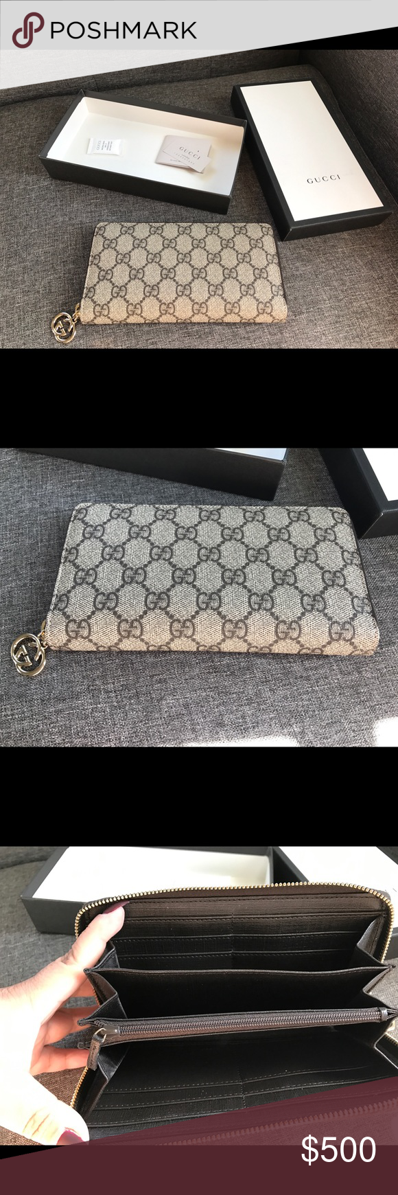 414f93d95cd Gucci Logo Zip Around Wallet Authentic GUCCI GG Monogram Zip Around Wallet  in Brown. This