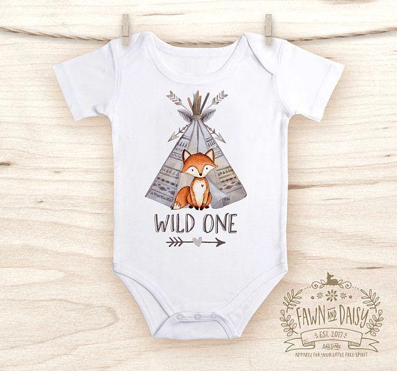 Boys Woodland Tribal Fox Birthday Shirt Any Age Personalized with Any Name