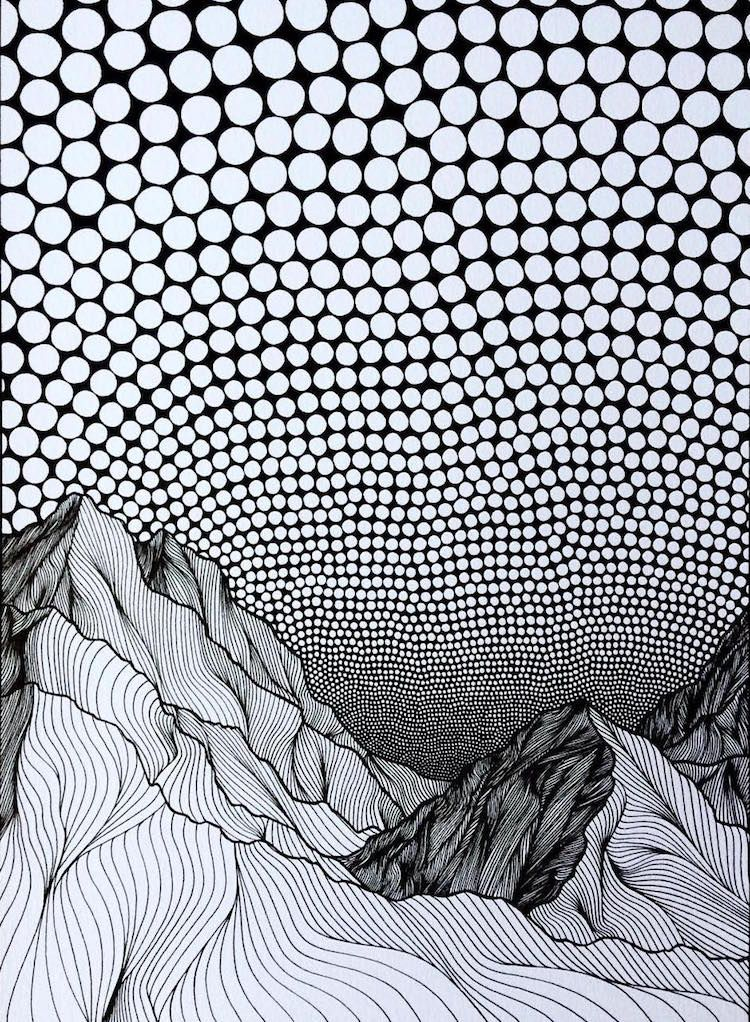 Pointillist Line Drawings of Mountains by Christa Rijneveld High School  Drawing, Mountain Drawing, Op ad983e9b9a