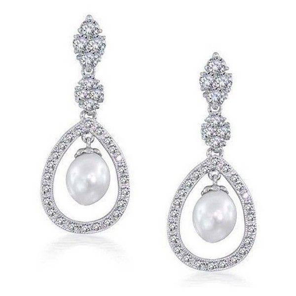 Bling Jewelry Bridal Pearl Pave Cz Silver Teardrop Chandelier Earrings 40 Liked On