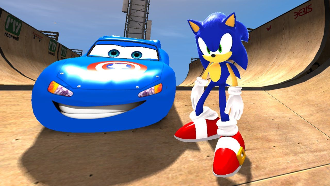 Sonic The Hedgehog Having Fun With Disney Cars Mcqueen Songs For Ch