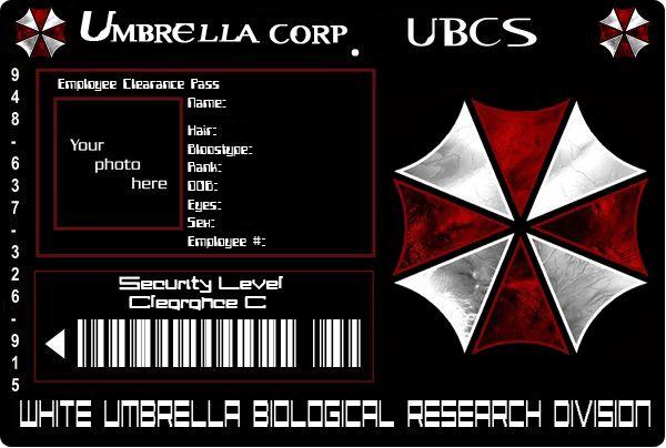 Umbrella Id Card Sin Datos By Zpom On Deviantart Residen Evil Datos