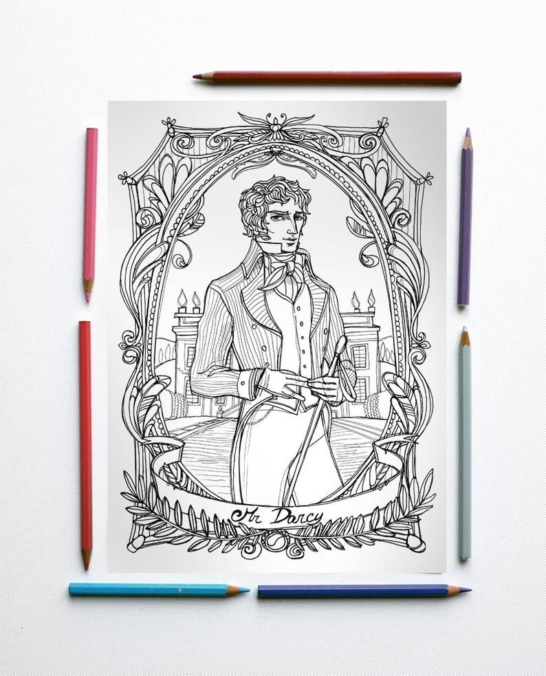 Coloring Page Pdf Jane Austen Pride And Prejudice Mr Darcy And Pemberley In Foreground Instant Download Art Printable Illustration Jane Austen Stolthet Och Fordom Etsy