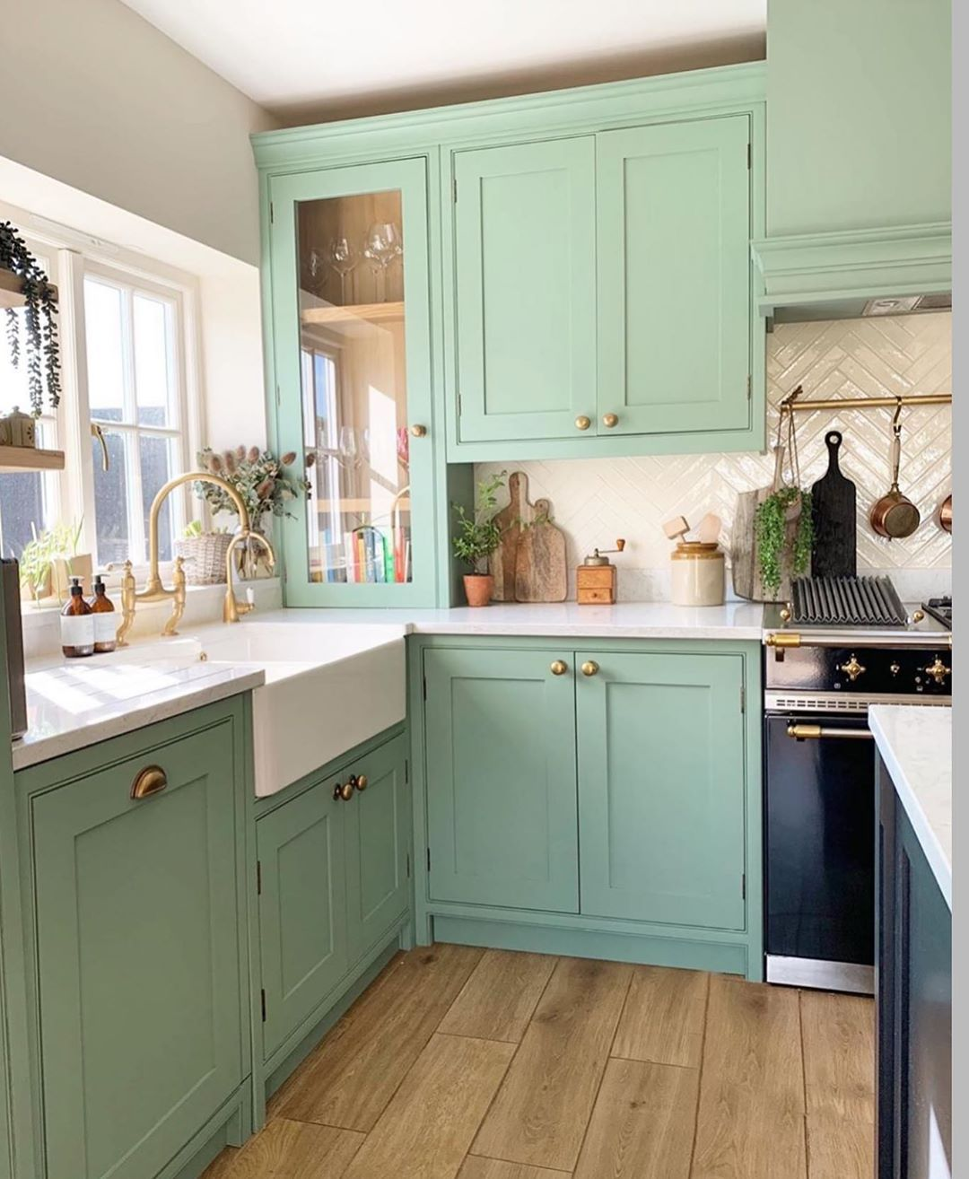 Jan Skacelik On Instagram The Color Of This Kitchen Is Absolutely Fabulous Storiesof Home In 2020 Kitchen Decor Inspiration Home Green Kitchen Cabinets