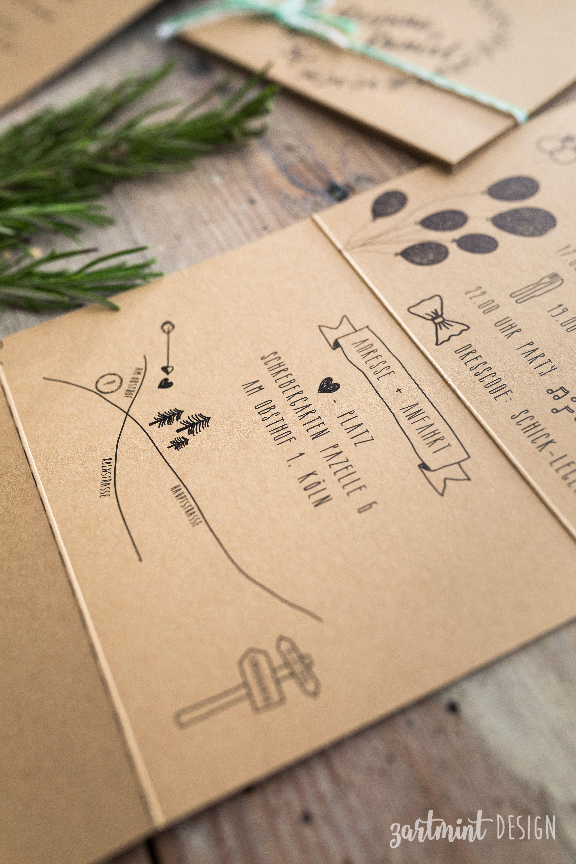 Hochzeitspapeterie Hochzeitseinladung Kraftpapier Rosmarin Illustra Einladungskarten Hochzeit Text Spruche Zur Goldenen Hochzeit Einladung Goldene Hochzeit
